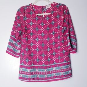 Anthropologie Everly Pink Aztec Print Blouse
